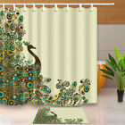Lovely Peacock Waterproof Polyester Fabric Shower Curtain & 12 Hook 71X71Inch