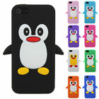 CUSTODIA COVER CASE APPLE IPHONE 5 5S SE SILICONE PINGUINO COLOR