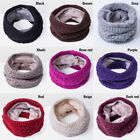 Women Winter Warm Infinity Cable Knitted Neck Cowl Collar Velvet Scarf Shawl