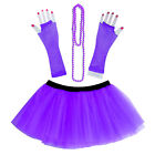 Hallowmas 3PC 80's Neon UV Adult Tutu Skirt Beads Hen Fancy Dress Party Costumes