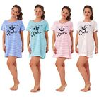 Ladies New Nightwear Anchor Printed Short Sleeve Girls Nightie T Shirt S to L