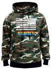Men's White US Flag Rainbow #LGBT Camo Hoodie Gay Pride Lesbian Equality Support