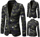 Fashion camouflage large body white flowers print men's leisure a button jacket