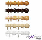 Speedy Products 28mm Wooden Curtain Pole with Solid Wood Ball Finials