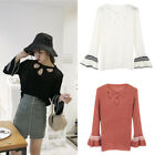 Fashion Sexy Hollow Out Sweater Stripe Flare Sleeve Pullover Streetwears Autumn
