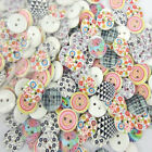 """100/200 5/8"""" Mix Printed Dot Rainbow Grid Wood Buttons Sewing Craft 15mm Buttons"""