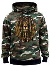 Men's Dreadlock Rasta Lion Headphones Camo Hoodie Marijuana Weed Rave Jamaican