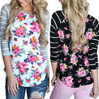 Fashion Women Casual Striped Long Sleeve T Shirt Floral Summer Loose Tops Blouse