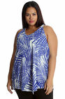 New Womens Top Plus Size Ladies Palm Leaf Hanky Hem Chiffon Tank Cami Nouvelle