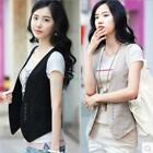 Chic Womens Sleeveless Waistcoat Solid Slim Double-breasted Casual Vest Tops New