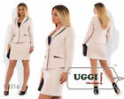 Business style Woman Skirt Suit Suiting Long sleeve Mini skirt Wear to work-Plus
