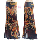 Women's LONG SKIRT Floral Paisley Boho Black maxi S/M/L/XL/1XL/2XL/3XL