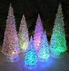 Christmas Tree LED Coloring Changing Tabletop Set of 3 Acylic Xmas Decorations