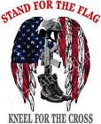 Stand For The Flag Kneel For The Cross Vinyl Decal Sticker American Usa Battle