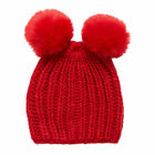 Girl's red double pom beanie