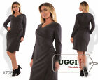 Casual Woman Dress Jersey Knee-Length Long Sleeve Casual Wear to work- Plus size