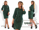 Business style Woman Dress Knitted Blend Above Knee 3/4 Sleeve Casual- Plus size