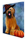 Happy Halloween Briards Dog Wearing Witch Hat with Pumpkin Canvas Wall Art