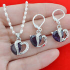 Jewelry Set Silver 925 Multicolor Topaz Women Pendant Necklace and Earrings