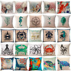 Ocean Life Print Pillow Cover Cotton Linen Pillow Case Home Decor Cushion Cover