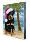 Summertime Holidays Rottwielers Dog on Tropical Island Beach Canvas Wall Art