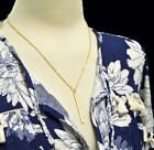 Gold Necklace Solid Straight Vertical Long Drop Bar Pendant Gift Celebrity
