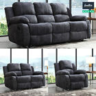 RECLINER SOFA SET FABRIC CHARCOAL GREY 3 PIECE SUITE SOFAS COUCH SALE 3+2+1 NEW