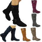 Womens Ladies Mid Calf Faux Suede Rouched Boots Buckle Zip Low Heel Shoes Size