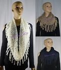 Womens Winter Knit Net Mesh Ring tube Loop Infinity Scarf with Fringes