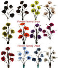 *BARGAIN* REALISTIC ARTIFICIAL POPPY FLOWERS - SILK - 12 COLORS - 5 HEADS EACH