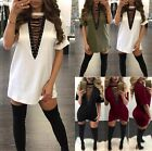 UK Womens Lace Up Mini Dress Ladies Casual Evening Party T Shirt Long Blouse Top