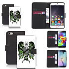 black pu leather wallet case for many mobiles stoked motif