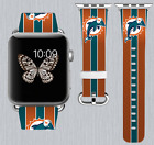 Miami Dolphins Apple Watch Band 38 40 42 44 mm IWatch PU Leather Strap 260 on eBay