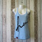 Henleys Ladies Striped Vest. Turquoise/White. Size XS (2765543 29) C