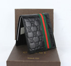 $118 Men GG Gucci black leather red and green striped window wallet&&