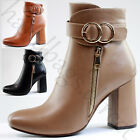 New Ladies Ankle Boots High Block Heel Buckle Zip Casual Womens Shoes Sizes 3-8