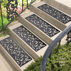 Set Of 4 Rubber Stair Step Mats Scroll Design Outdoor Porch Stoop Step Traction