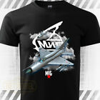 MIG-21 Russian Aircraft T-Shirt military air force aircraft fighter Black