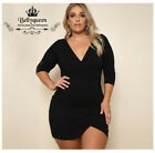new 2017 V-neck long sleeve slim bodycon party evening cocktail dress plus size