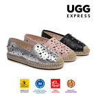 UGG April Ladies Rivet Cut Out Hole Comfortable Flat Loafer Shoes, Leather Upper