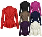 Womens Ladies Frill Shift Tale Back Long Sleeve Peplum Blazer Jacket Coat Top