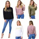 WOMEN GIRLS VOUGE GOLD FOIL PRINT lLADIES LONGSLEEVE SWEATSHIRT TOP JUMPER S-L
