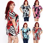 Womens Floral Flower Printed Scoop Neck Ladies Cap Sleeve Tunic Top 14-28