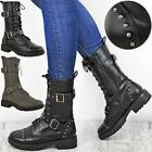 Womens Ladies Chunky Studded Flat Ankle Boot Biker Strappy Winter Calf High Size
