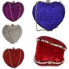 Womens Hardcase Clutch Bag Ladies Heart Glittery Shiny Metallic Evening Handbags