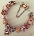NEW Silver & Rose Gold Plated Charm Bracelet- Rose Gold, Pink & Silver Charms