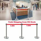 2/4/6/ Belt Stanchion Queue Rope Barrier Posts Stand Retractable Polished Steel