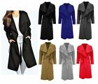 UK Ladies Womens Long Waterfall Coat Italian Duster Belted French Trench Winter