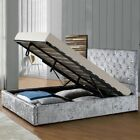 Silver Crushed Velvet Gas Lift Ottoman Bed Under Bed Storage Double King Size