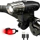Waterproof USB-Recharge LED Bicycle Bike Front Light Headlight & Tail Light US